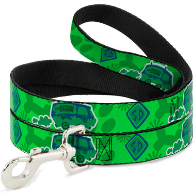 Dog Leash - Scooby Doo Mystery Machine/Dog Tag Collage Greens/Blues