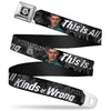 Winchester Logo Full Color Black White Seatbelt Belt - SUPERNATURAL Dean Pose/THIS IS ALL KINDS OF WRONG Grays/White Webbing