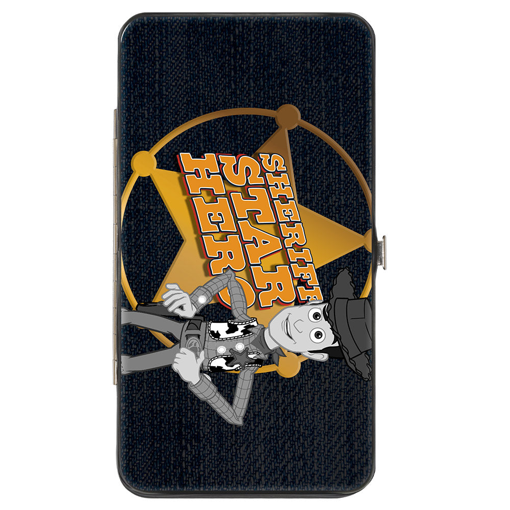 Hinged Wallet - Toy Story Woody SHERIFF STAR HERO Badge Denim Print Dark Grays Golds