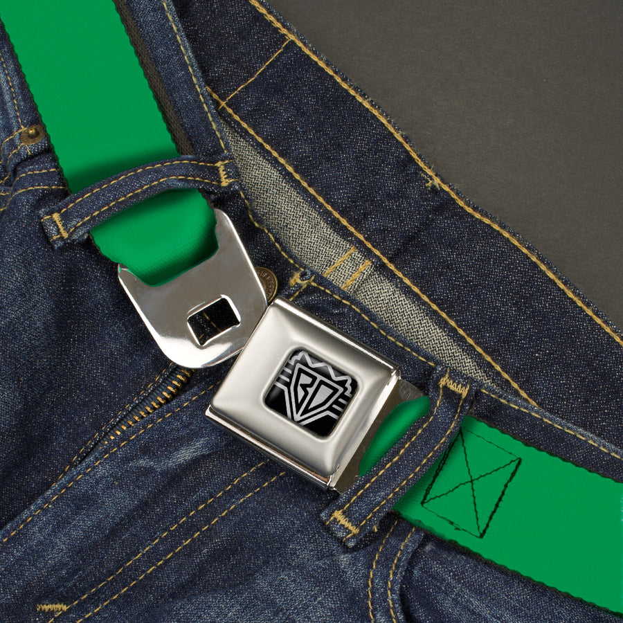 BD Wings Logo CLOSE-UP Full Color Black Silver Seatbelt Belt - St. Paddy Green Webbing