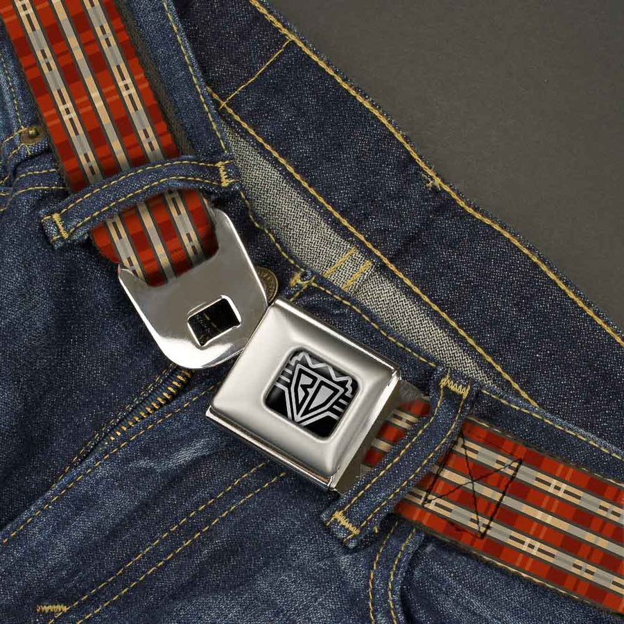 BD Wings Logo CLOSE-UP Full Color Black Silver Seatbelt Belt - Americana Plaid2 Webbing