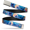 Chrome Buckle Web Belt - Frozen Elsa the Snow Queen Poses/Snowflakes Webbing