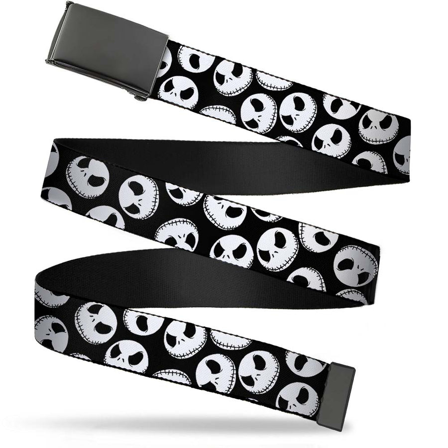 Black Buckle Web Belt - Nightmare Before Christmas Jack Expressions Scattered Black/White Webbing