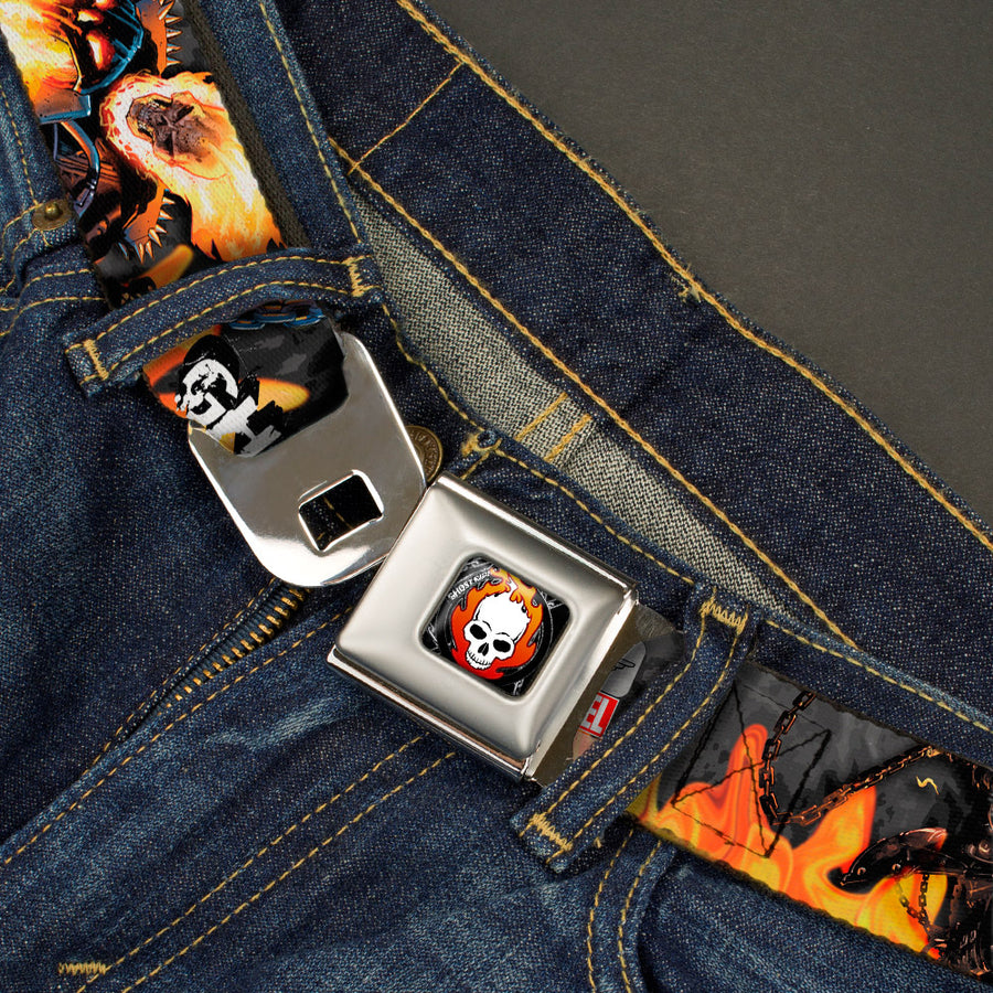 MARVEL UNIVERSE GHOST RIDER Flaming Skull Full Color Black Gray Red-Orange Fade White Seatbelt Belt - GHOST RIDER 3-Riding Poses/Flaming Skull Grays/Flames Webbing
