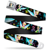 Glowing Tinker Bell Pose Full Color Seatbelt Belt - Glowing Tinker Bell Poses/Butterflies & Flowers Black/Multi Neon Webbing