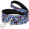 Dog Leash - Donald Duck Face/Poses Scattered Blue/White/Red/Yellow