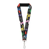 "Lanyard - 1.0"" - Big Hero 6 Group Action Pose Name Blocks Black Gray Multi Color"