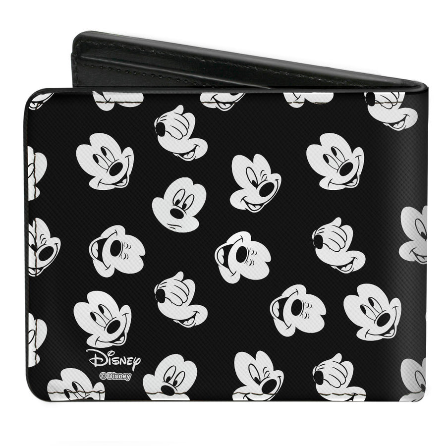 Bi-Fold Wallet - Mickey Mouse 5-Expressions Button Logo Black White Red Yellows