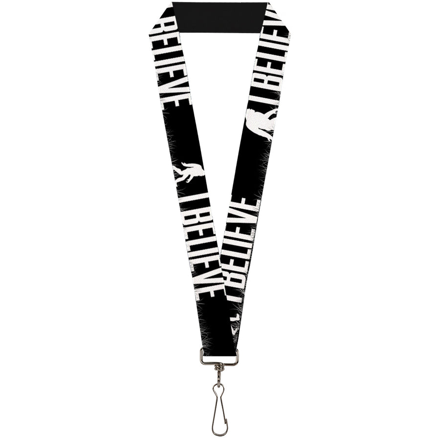 "Lanyard - 1.0"" - Bigfoot Silhouette I BELIEVE Black Gray White"