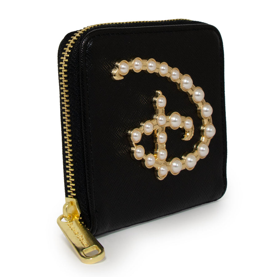 Women's Zip Around Wallet Square - Disney Signature D Logo Faux Pearls