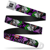 DC COMICS FOREVER EVIL Full Color Black Gray Seatbelt Belt - Detective Comics Joker Holding Teeth Issue 23.1 Cover Pose/HA! HA! HA! Black/Purples Webbing