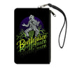 Canvas Zipper Wallet - LARGE - BEETLEJUICE Sitting on Tombstone Pose Trees Black Purple Green Yellow