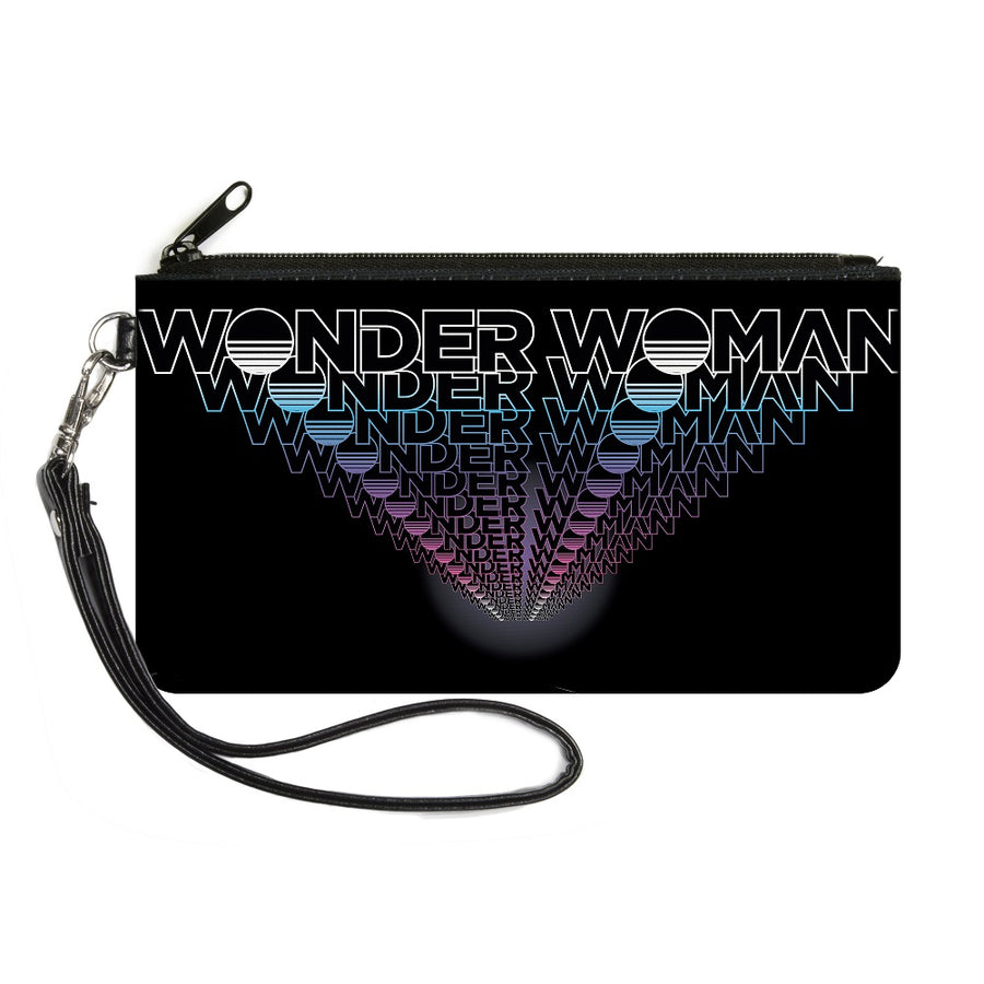 Canvas Zipper Wallet - SMALL - WONDER WOMAN 1984 Text Infinity Repeat Black White Blues Pinks