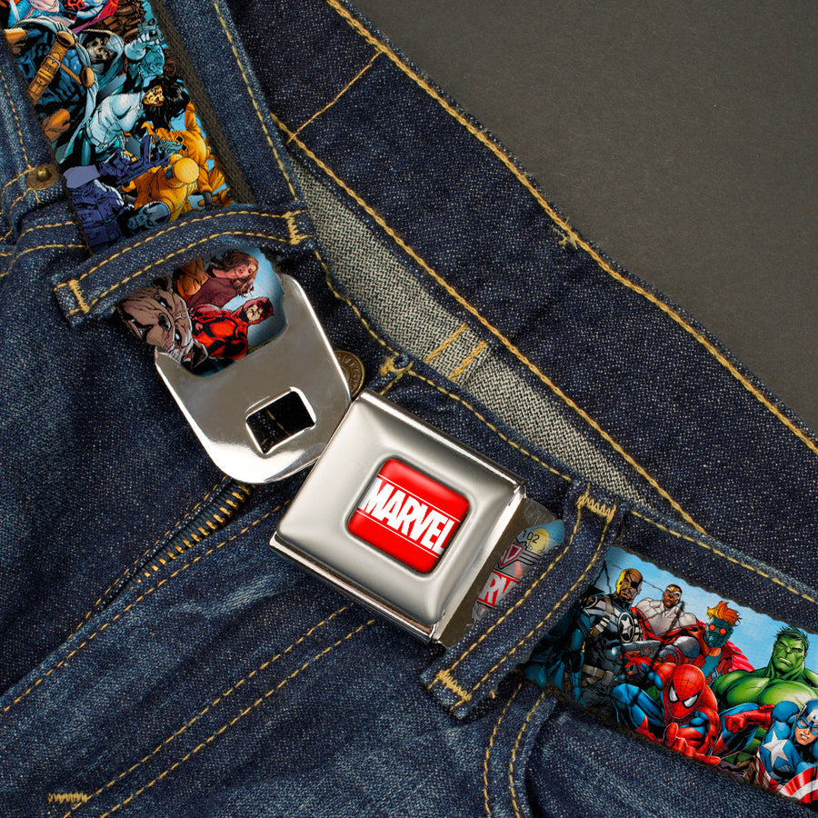 MARVEL UNIVERSE MARVEL Full Color Red White Seatbelt Belt - Marvel Universe Heroes & Villains Portrait Webbing