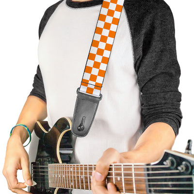 Guitar Strap - Checker White TN Orange