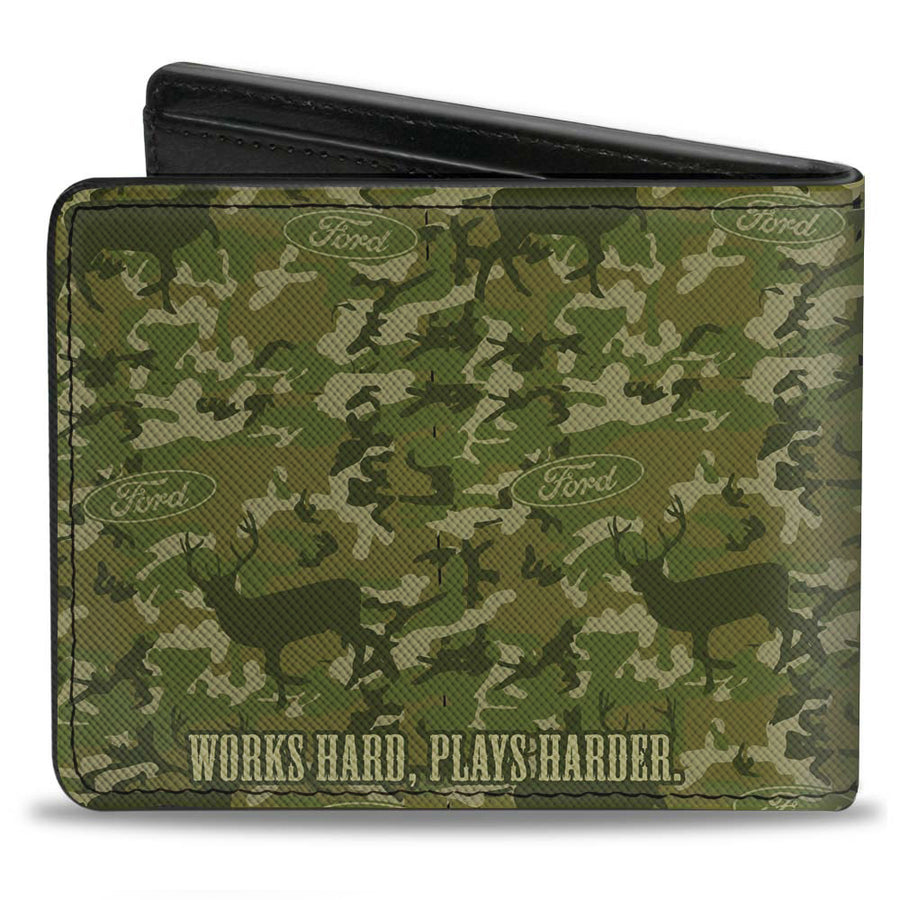 Bi-Fold Wallet - Ford Truck + WORKS HARD, PLAYS HARDER Deer Hunter Camo Olive
