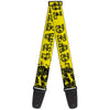 Guitar Strap - Grateful Dead Text w Skull & Roses Yellow