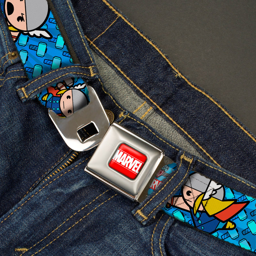 MARVEL UNIVERSE MARVEL Full Color Red White Seatbelt Belt - Kawaii Thor Poses/Hammer Monogram Blues Webbing