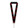 "Lanyard - 1.0"" - Bat Logo Harley Quinn Diamonds Black Red"