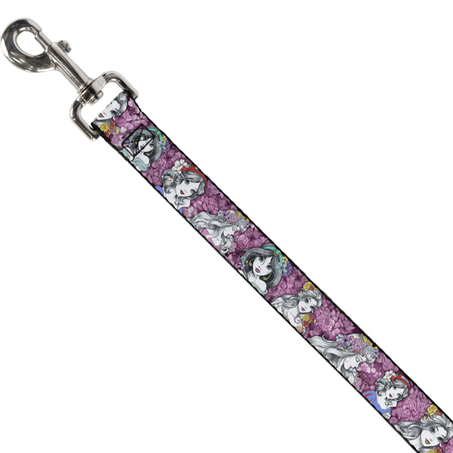 Dog Leash - Princess Sketch Poses/Floral Collage Pinks/Grays