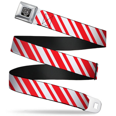 BD Wings Logo CLOSE-UP Full Color Black Silver Seatbelt Belt - Candy Cane3 Stripe White/3-Red Webbing