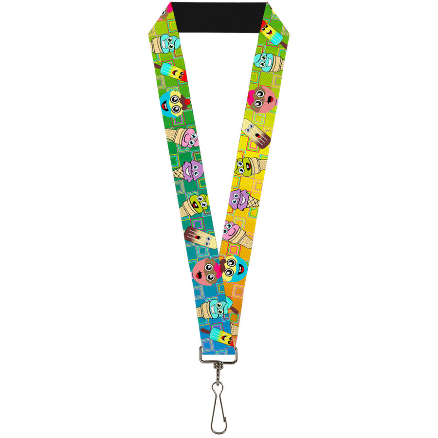 "Lanyard - 1.0"" - Ice Cream Cone & Popsicle Expressions Squares Multi Color"