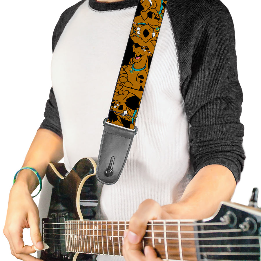Guitar Strap - Scooby Doo Stacked CLOSE-UP Black