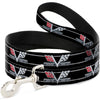 Dog Leash - 1967 Impala 396 TURBO-JET V Emblem/Stripe Black/Silver/Red/White