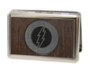 Business Card Holder - LARGE - Flash Logo Marquetry Black Walnut Metal