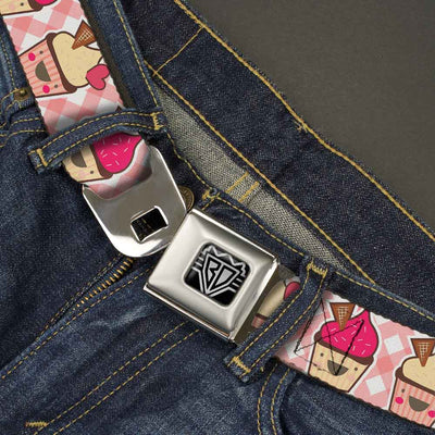 BD Wings Logo CLOSE-UP Full Color Black Silver Seatbelt Belt - Happy Cupcakes Buffalo Plaid White/Pink Webbing