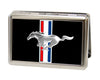 Business Card Holder - LARGE - Ford Mustang w Bars Logo CENTERED FCG Black