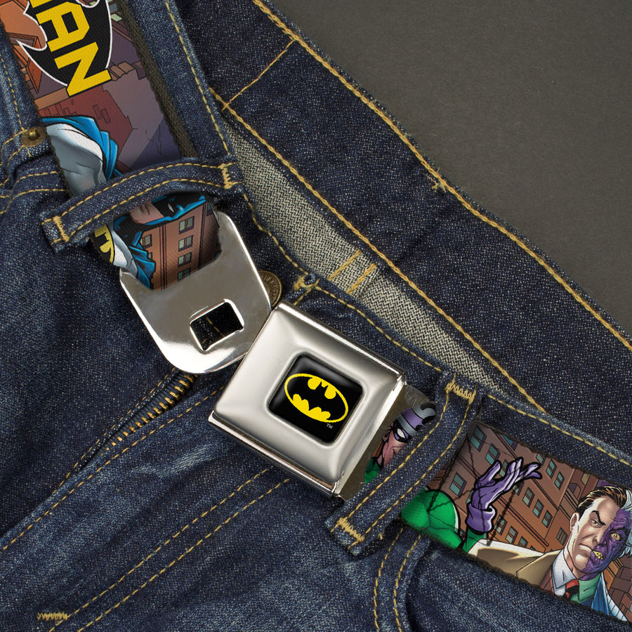 Batman Full Color Black Yellow Seatbelt Belt - BATMAN & Villains2/Cityscape Webbing
