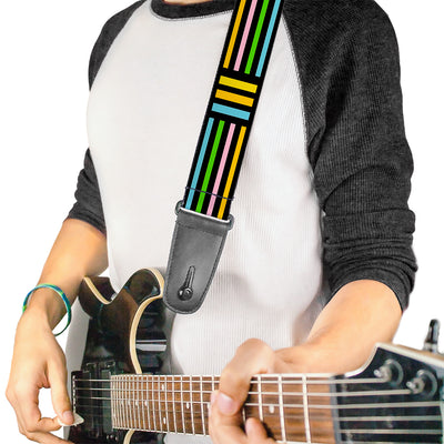 Guitar Strap - Stripe Blocks Black Multi Pastel