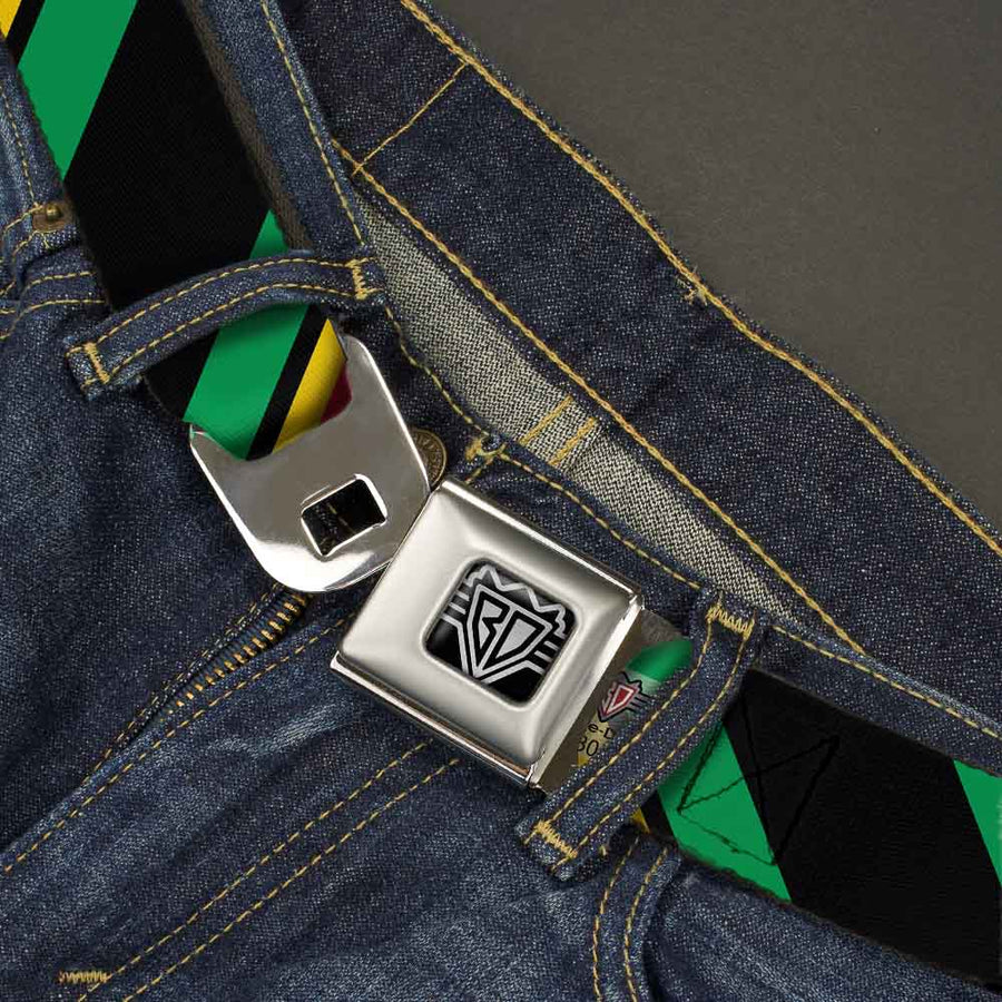 BD Wings Logo CLOSE-UP Full Color Black Silver Seatbelt Belt - Diagonal Stripes Black/Green/Yellow/Red Webbing