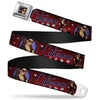 CATWOMAN Bombshell Face CLOSE-UP Full Color Red Seatbelt Belt - CATWOMAN Bombshell Pose/Diamonds Red/Purple/Black Webbing