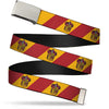 Chrome Buckle Web Belt - GRYFFINDOR Crest Diagonal Stripe Gold/Red Webbing