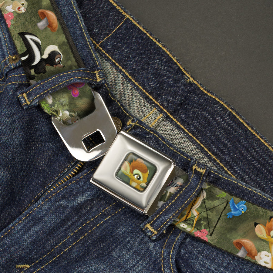 Bambi Face CLOSE-UP Full Color Gray Seatbelt Belt - Bambi & Friends Scene Webbing