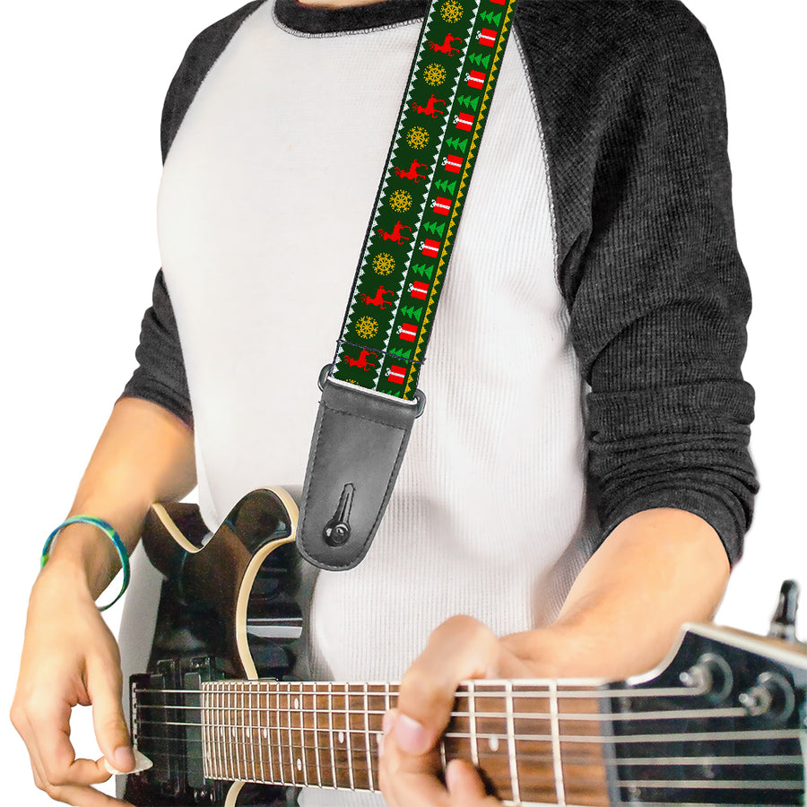 Guitar Strap - Christmas Sweater Stitch Green White Gold Red