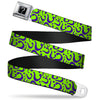 "Riddler ""?"" Black Silver Seatbelt Belt - Question Mark Scattered Lime Green/Purple Webbing"