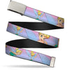 Chrome Buckle Web Belt - Tinker Bell Poses Purple/Pink Fade Webbing
