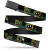 Black Buckle Web Belt - Marvin the Martian 4-Poses Mars Landscape Black/White/Greens Webbing