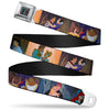 Princess Jewels Full Color Black Multi Color Seatbelt Belt - Disney Princess Scenes Framed Webbing