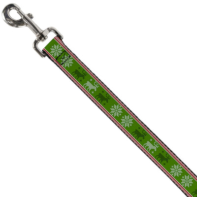 Dog Leash - Christmas Stitch Moose/Snowflakes Red/Green
