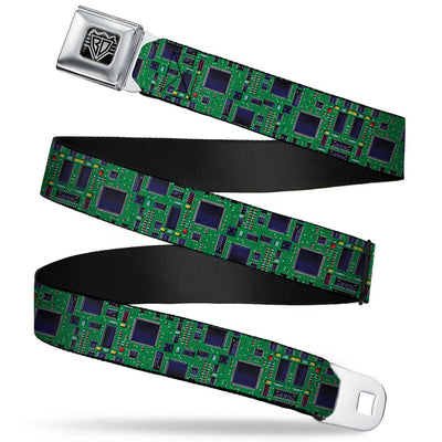 BD Wings Logo CLOSE-UP Full Color Black Silver Seatbelt Belt - Circuit Board2 Webbing