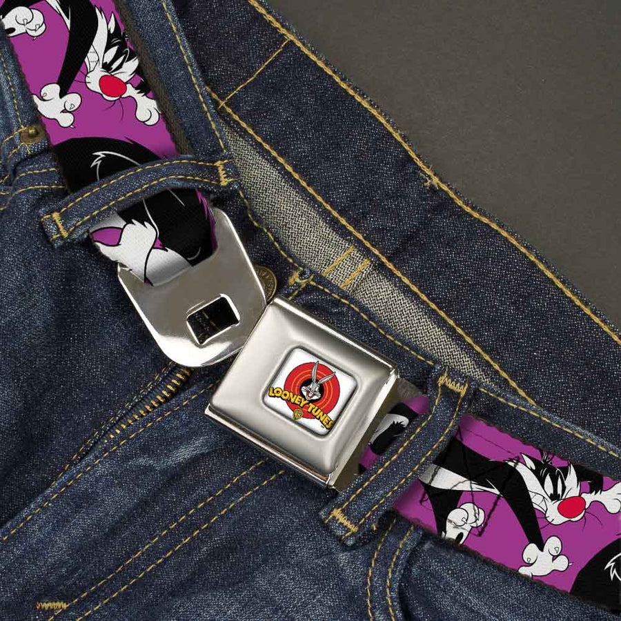 Looney Tunes Logo Full Color White Seatbelt Belt - Sylvester the Cat Poses Purple Webbing