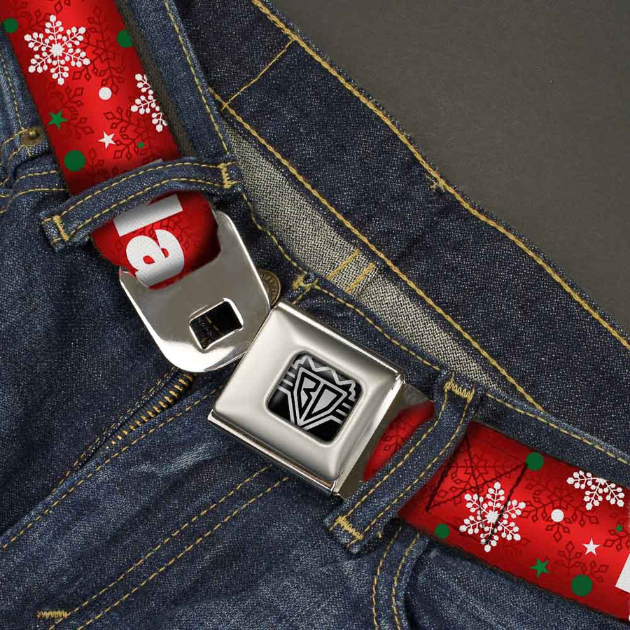 BD Wings Logo CLOSE-UP Full Color Black Silver Seatbelt Belt - Christmas NAUGHTY OR NICE/Snowflakes Reds/White/Green Webbing