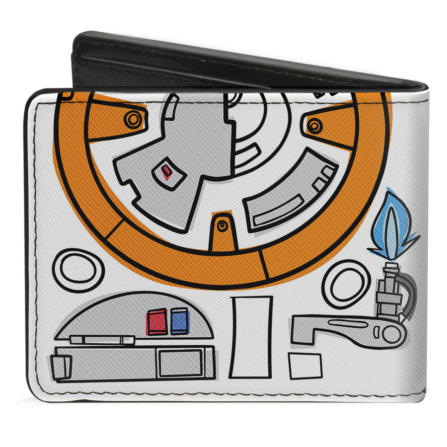 Bi-Fold Wallet - Star Wars BB-8 Bounding Parts3 White Black Grays Orange