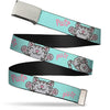 Chrome Buckle Web Belt - Soft Kitty Poses Pale Turquoise/Pink Webbing