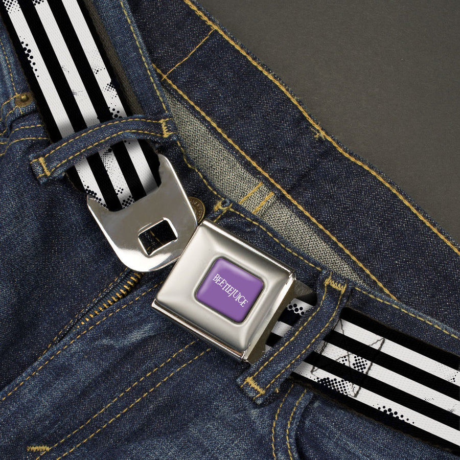 BEETLEJUICE Text Logo Full Color Purple/White Seatbelt Belt - Beetlejuice Suit Striping Black/White Webbing