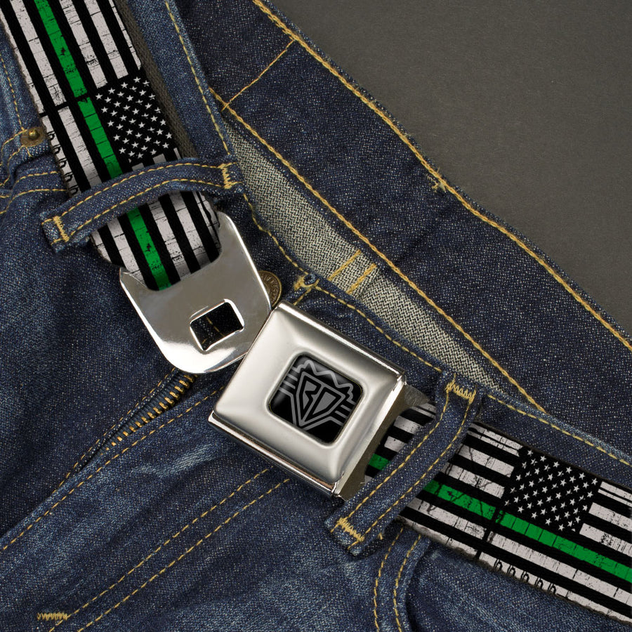 BD Wings Logo CLOSE-UP Black/Silver Seatbelt Belt - Thin Green Line Flag Weathered Black/Gray/Green Webbing